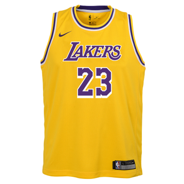 Nike Lakers 19 James Kids' Jersey Yellow