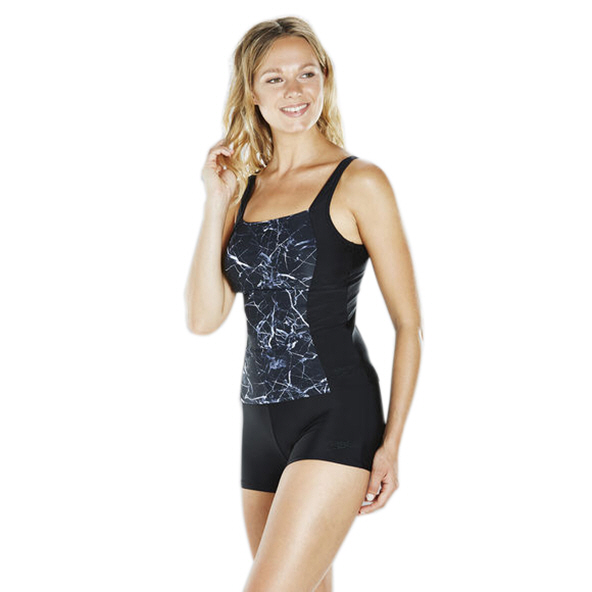 Speedo Penny Boom Allover Tankini, Black/White