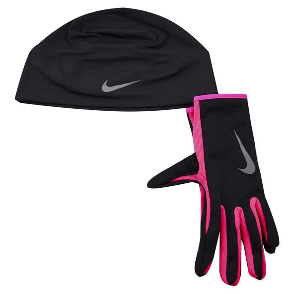 Nike Run Dry Women's Hat & Gloves Set Black