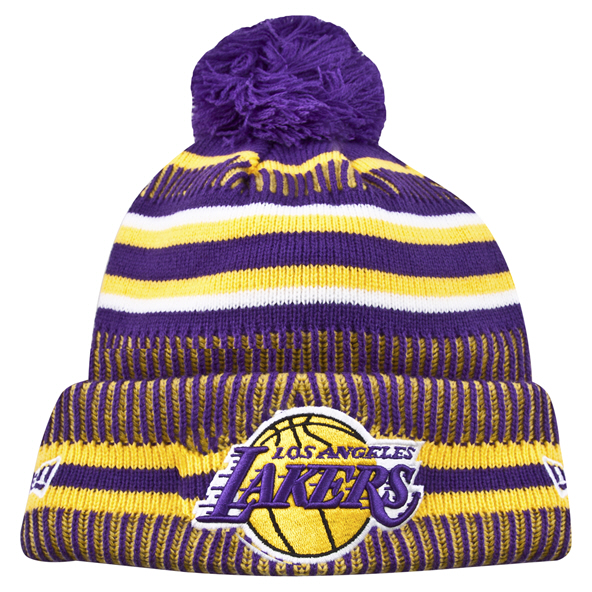 New Era Lakers 19 Bobble Knit Purple