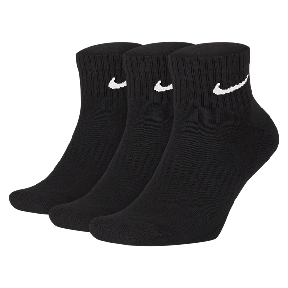 Nike Cushioned Quarter Socks - 3 Pack, Black