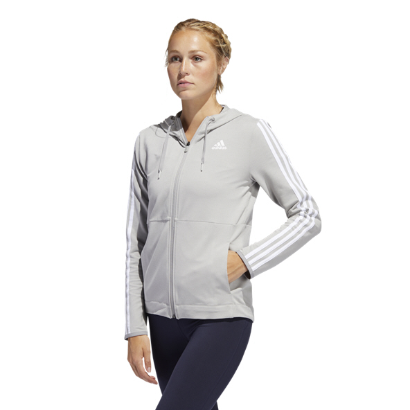 adidas 3 Stripe Training Women's Full Zip Hoody, Grey