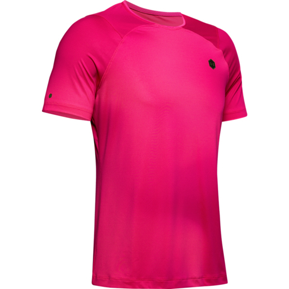 UA Rush Fitted SS Mens Pink/Black