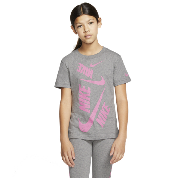 Nike Swoosh Girls' T-Shirt, Grey