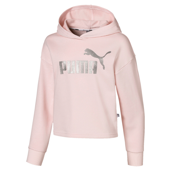 Puma Essentials Girls' Cropped Hoody, Rosewater