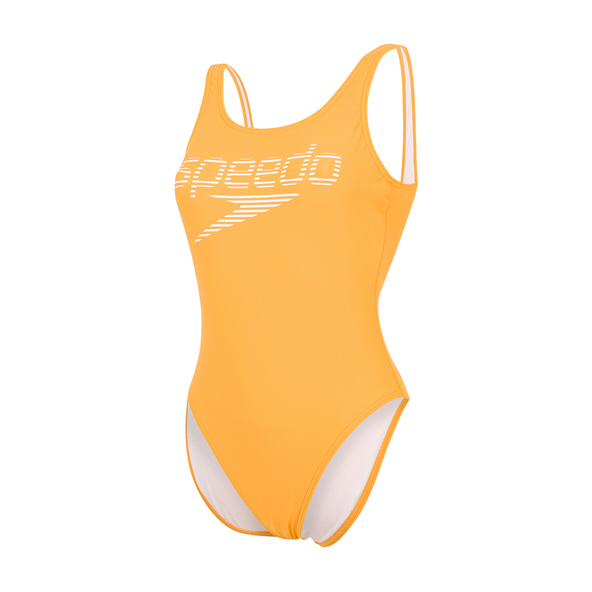Speedo Stripe Logo  U-Back 1 Piece Swimsuit Orange/White