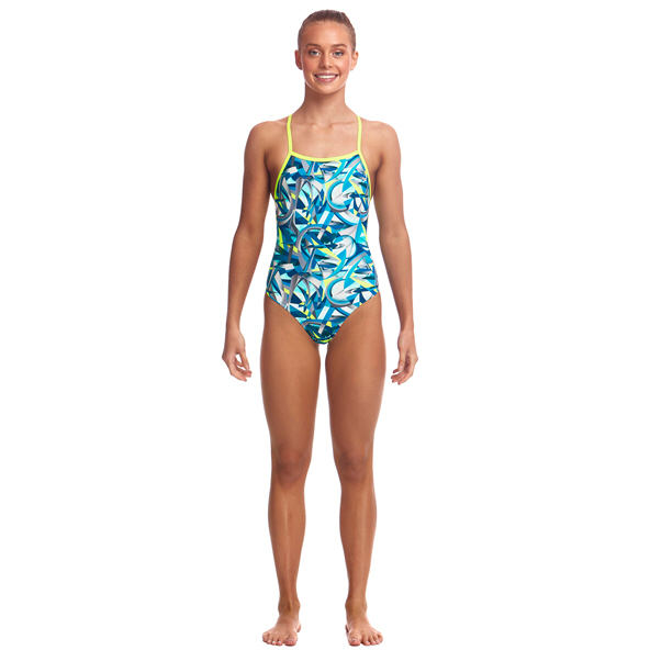 Funkita Strapped Girl Swimwear Green/Yel
