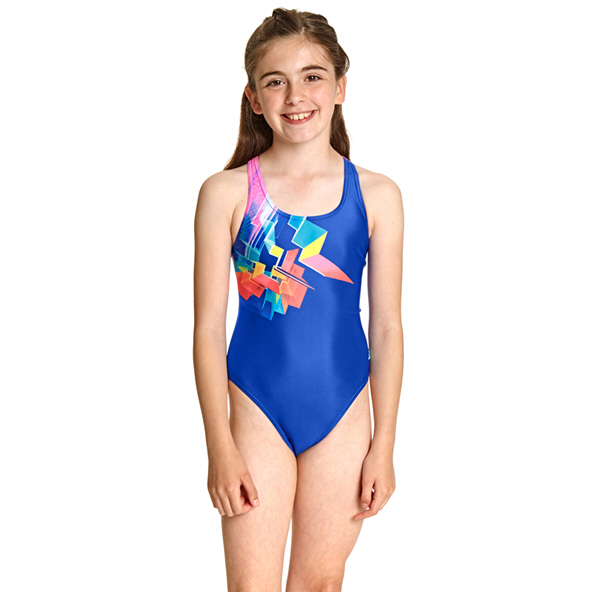 Zoggs Digital Geo Girls Rowleeback Blue