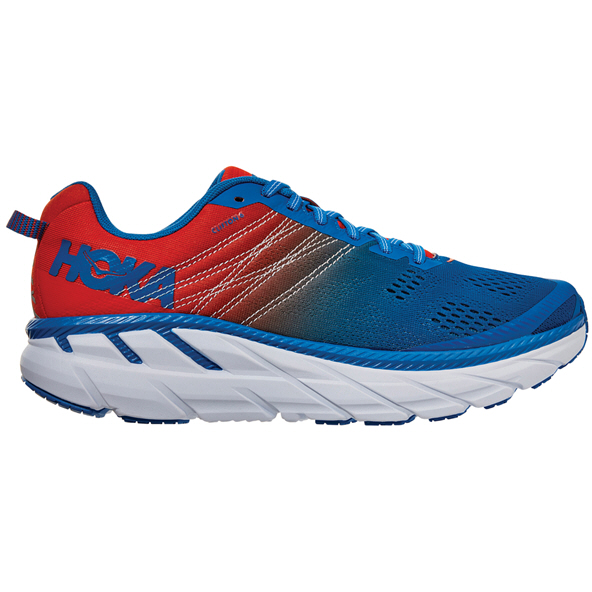Hoka CLIFTON 6 Men's Running Shoe, Red/Blue