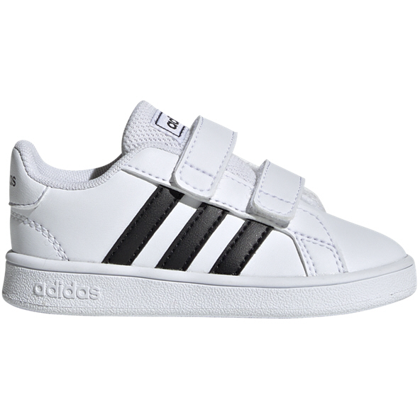 adidas Grand Court Infant Girls' Trainer, White/Black