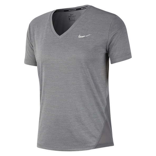 Nike Miler V-Neck Women's Running T-Shirt, Grey