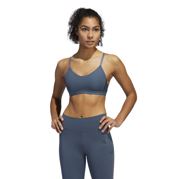 adidas All Me 3 Stripe Women's Bra Blue