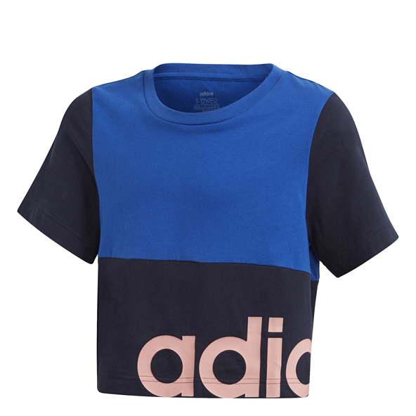 adidas Linear Girls' Cropped T-Shirt Blue