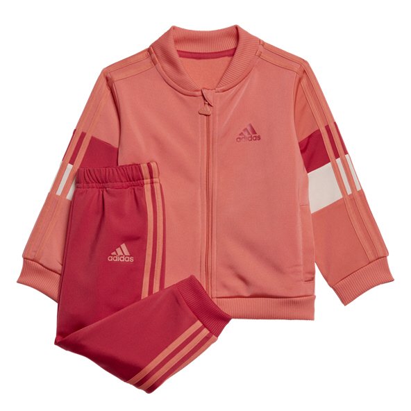 adidas Shiny Infant Girls Tracksuit Red