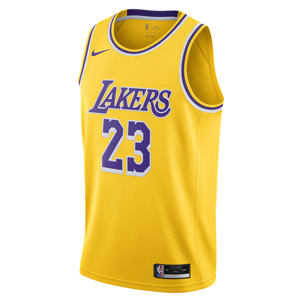 Nike LA Lakers Swingman Jersey - James 23 Yellow