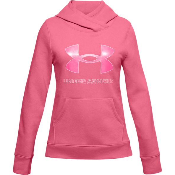 UA Rival Fleece Logo Hoody Girls Pink