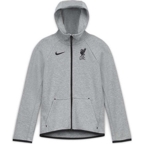 Nike Liverpool FC 2020/21 Tech Fleece Kids' Hoody, Grey
