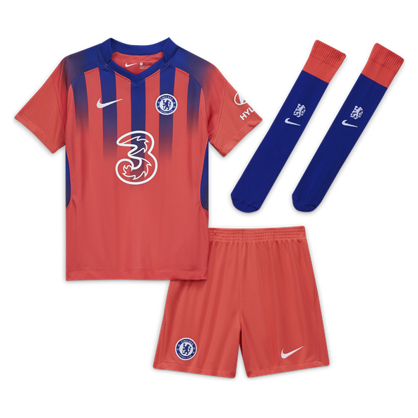 Nike Chelsea 2020/21 3rd Kids' Mini Kit, Red