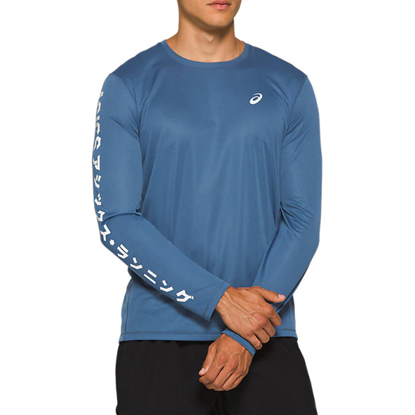 Asics Katakana Men's Long Sleeve Running T-Shirt, Blue