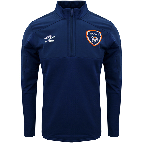 Umbro FAI Ireland 2021 ¼ Zip Fleece Kids' Top Navy/Green