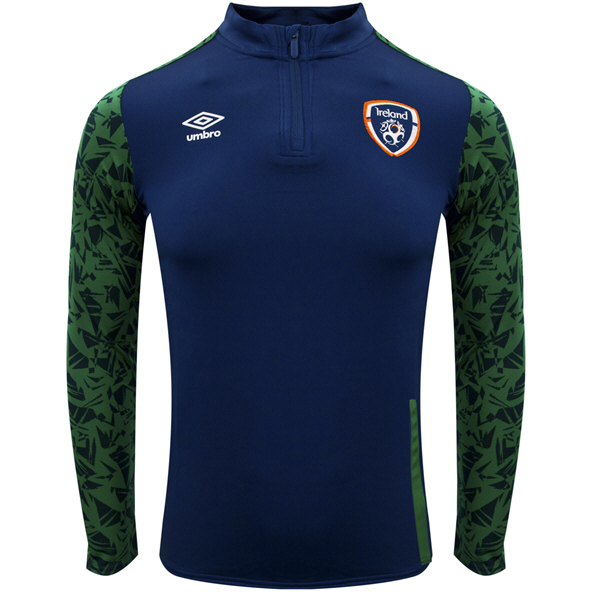 Umbro FAI Ireland 2021 ¼ Zip Kids' Top Navy/Green