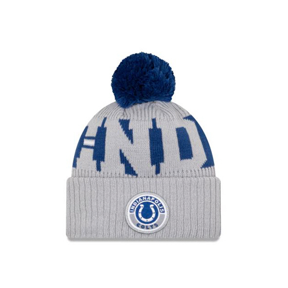 New Era Indianapolis Colts Bobble Beanie Grey