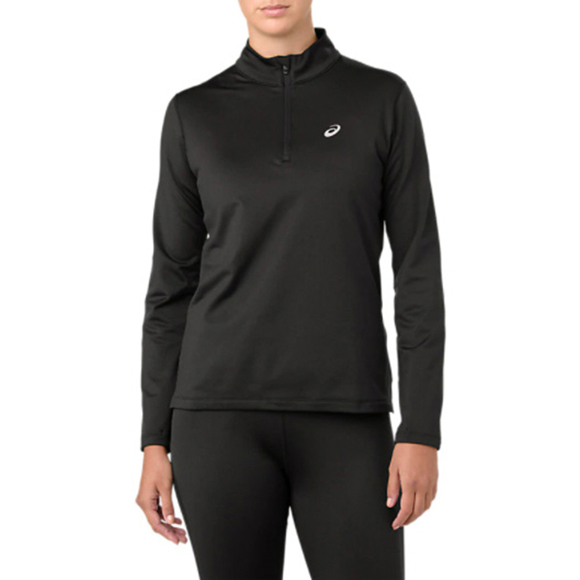Asics Silver Half Zip Women's Winter Top Black