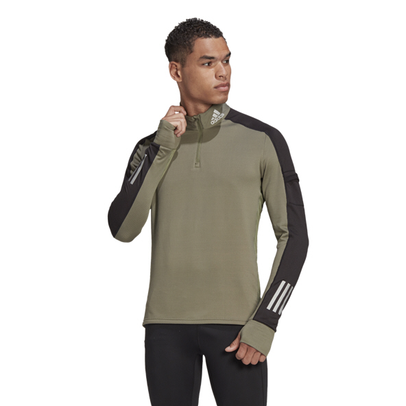adidas Warm Mens Half Zip Green