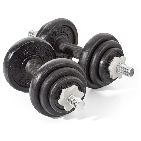 York Cast Iron Dumbbell Set -20kg, Black