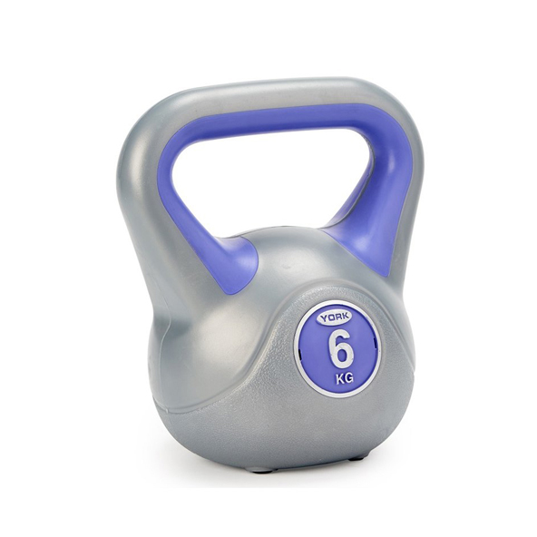 York Vinyl Kettlebell - 6kg, Grey/Purple