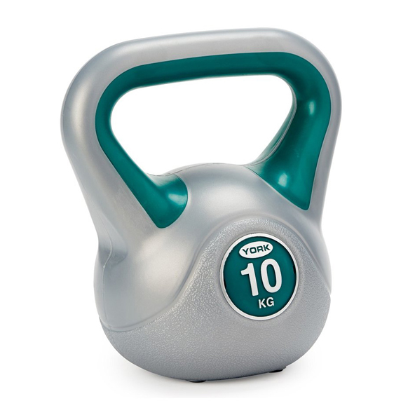 York Vinyl Kettlebell - 10kg, Grey/Green