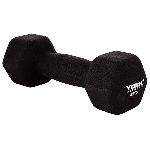 York Neo Hex Dumbbells - 8kg, Black