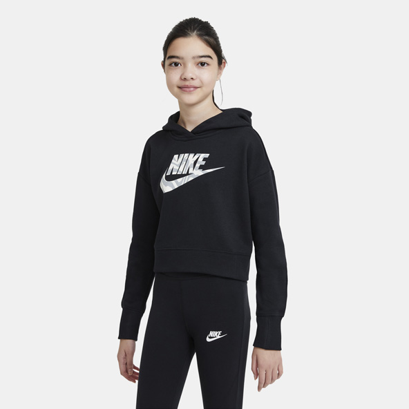 Nike Girls' Swoosh Crop Hoody Black