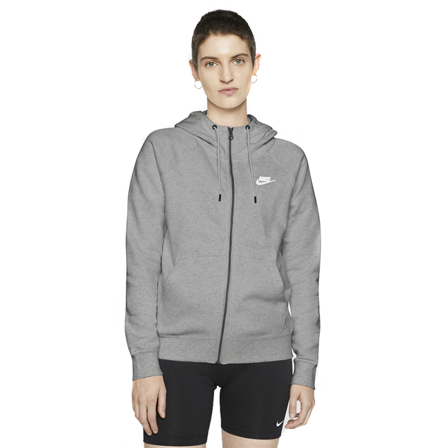 NIKE SWOOSH ESS HOODY FULL ZIP FLEECE HOODY GREY