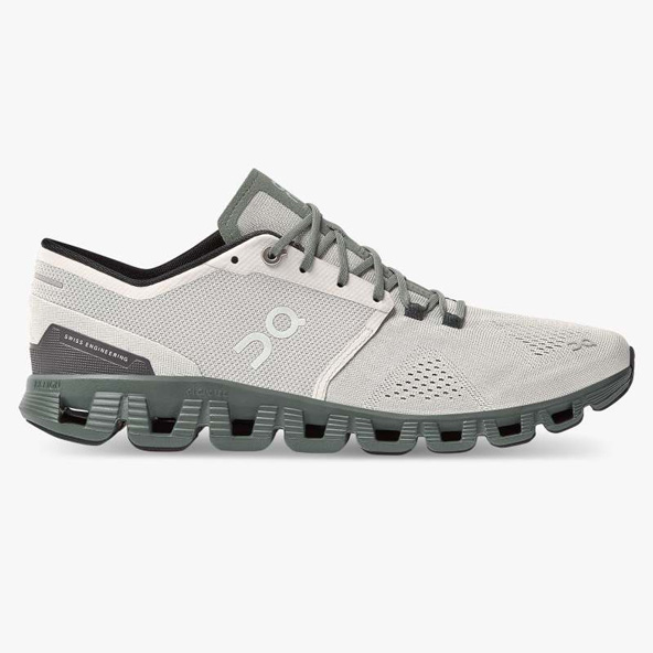 ON Cloud X Men's Running Shoe, Glacier/Olive