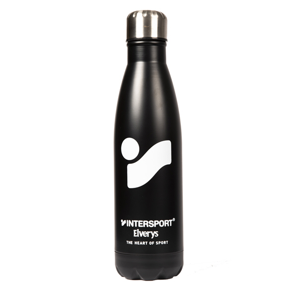 Intersport Elverys Steel Water Bottle, Black