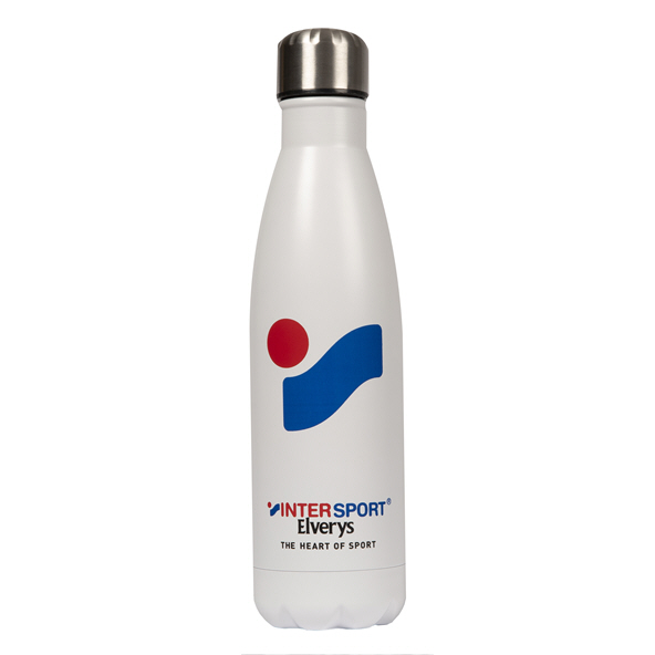 Intersport Elverys Steel Water Bottle, White