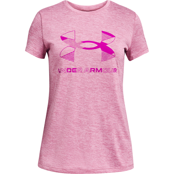 UA Girls Graphic Twist Big Logo SS Pink