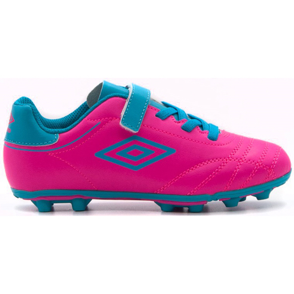 Umbro Classico VIII Junior Hard Ground Boot Pink Glo/Blue