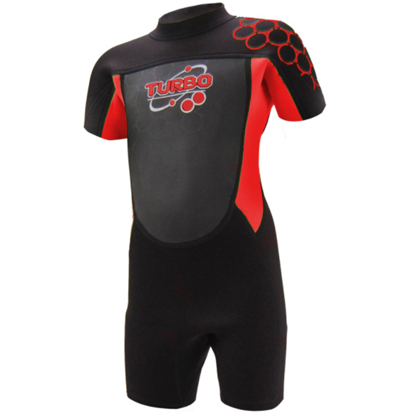 TWF Turbo 2.5mm Shortie Wetsuit Black/Rd