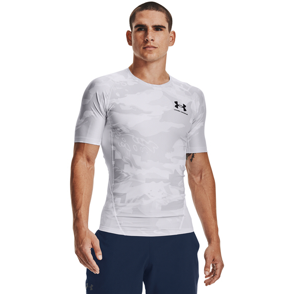 UA Mens HG Isochill Comp Print SS Tee Wh