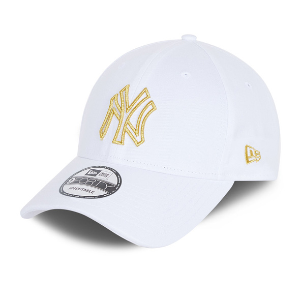 New Era NY Yankees Metallic Logo 9FORTY Cap, White / Gold