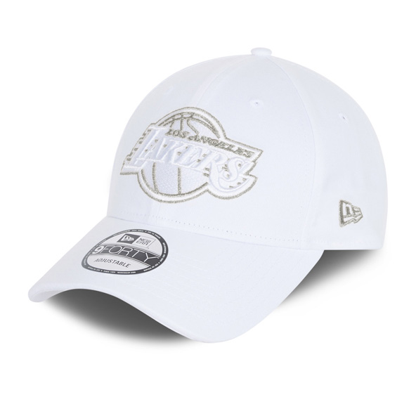 New Era LA Lakers Metallic Logo 9FORTY Cap, White / Gold