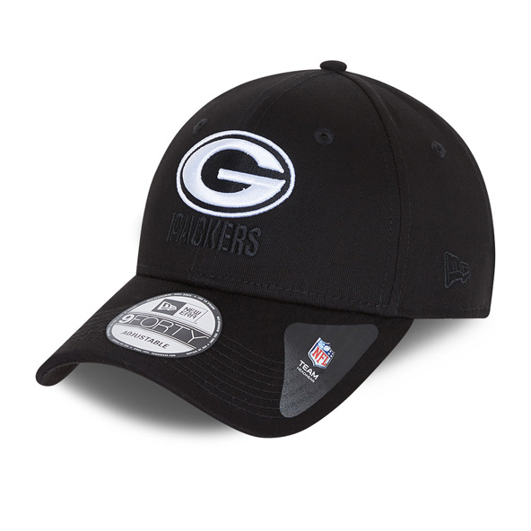 New Era Green Bay Packers Black Base 9Forty Cap, Black