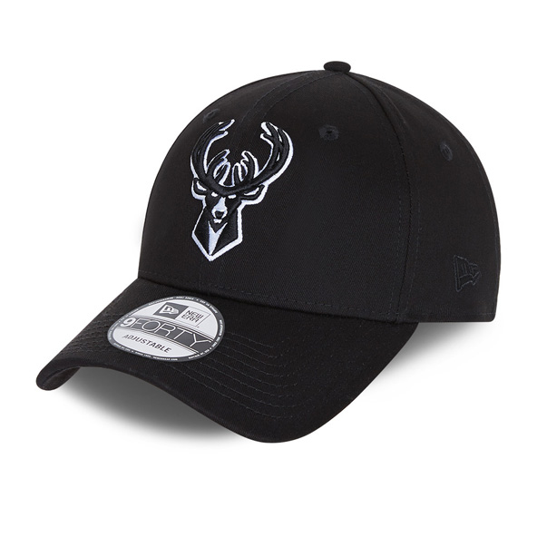 New Era Milwaukee Bucks Black Base 9Forty Cap, Black