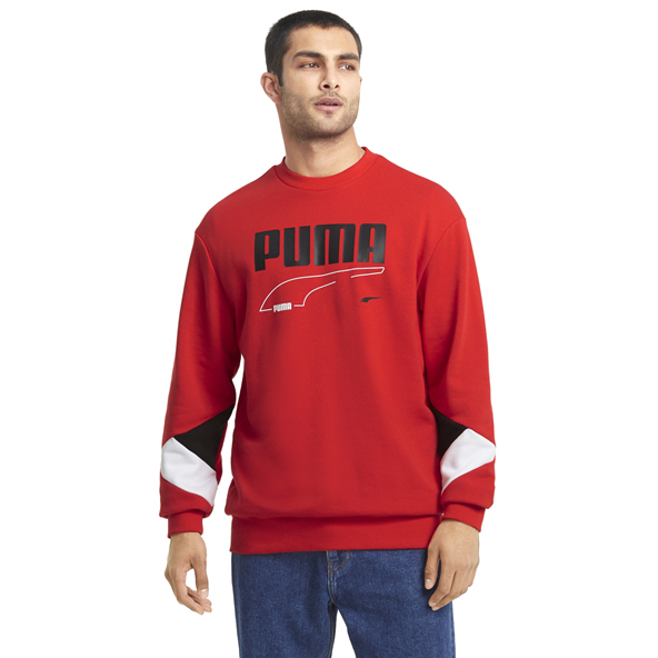 Puma Men's Rebel Crew Top Red