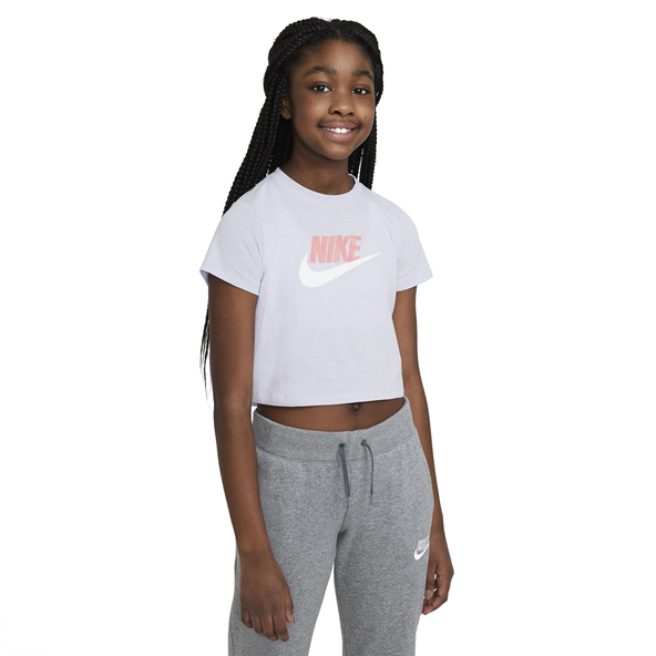 Nike Girls Swoosh Futura Crop Tee Purple