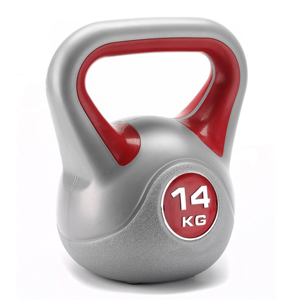 York Vinyl Kettlebell - 14kg, Grey/Red