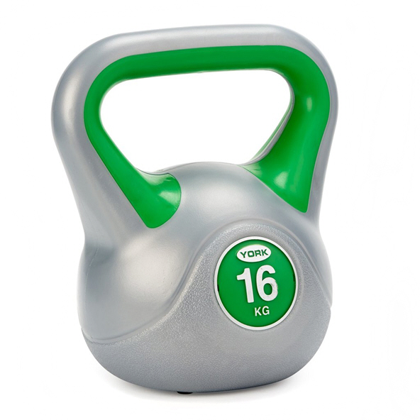 York Vinyl Kettlebell - 16kg, Grey/Green