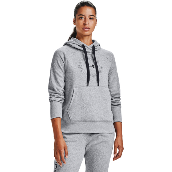 UA Wmns Rival Fleece Metallic Hoody Grey